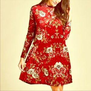 NWOTs Paolino Velvet floral dress size XL